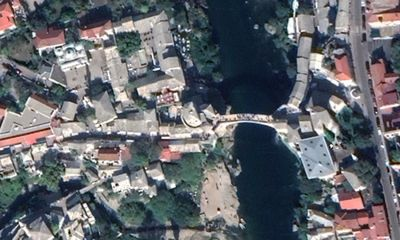 Aerial view of the bridge of Mostar