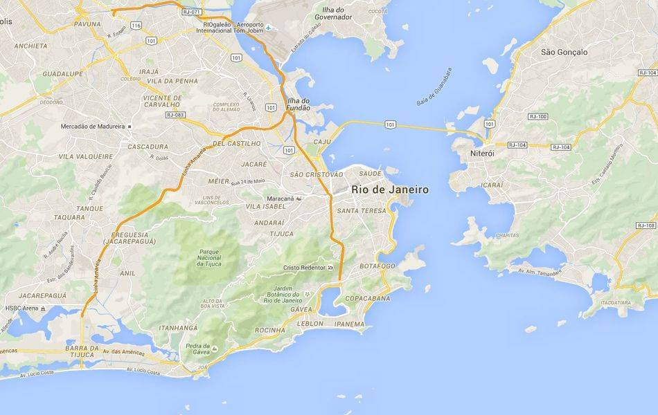 Location of Christ the Redeemer on the Corcovado