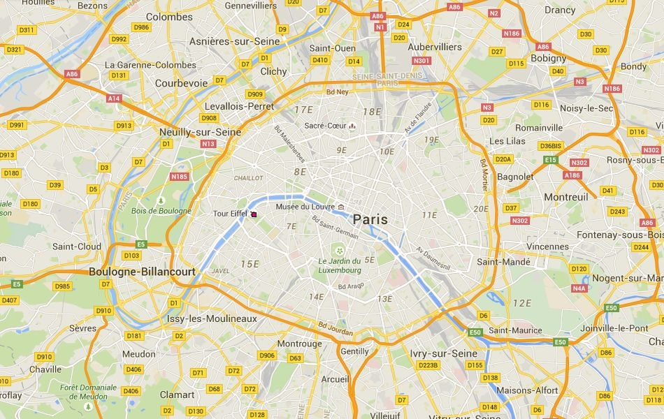 Location of the Eiffel tower
