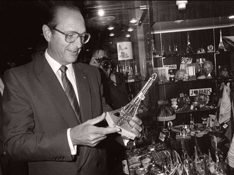 Jacques Chirac inaugurating the Eiffel Tower