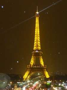 The illuminated Eiffel Tower