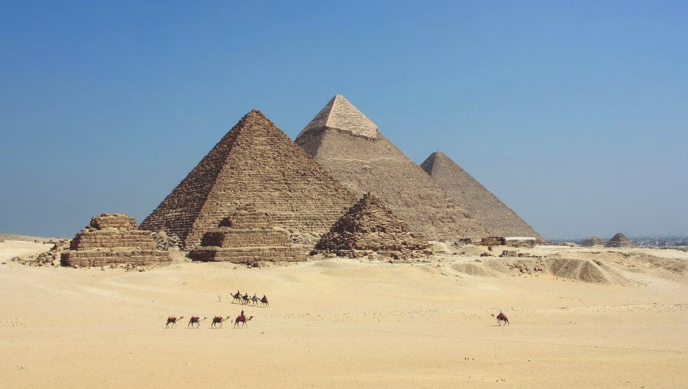 Pyramids of the plateau of Giza