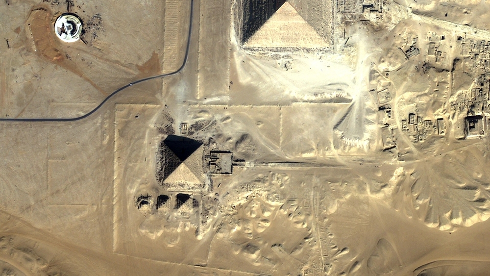 Aerial view of the Pyramid of Menkaure (click to enlarge)