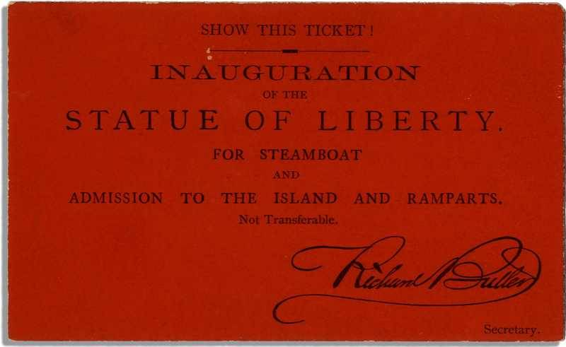 Ticket for the inauguration of the Statue of Liberty