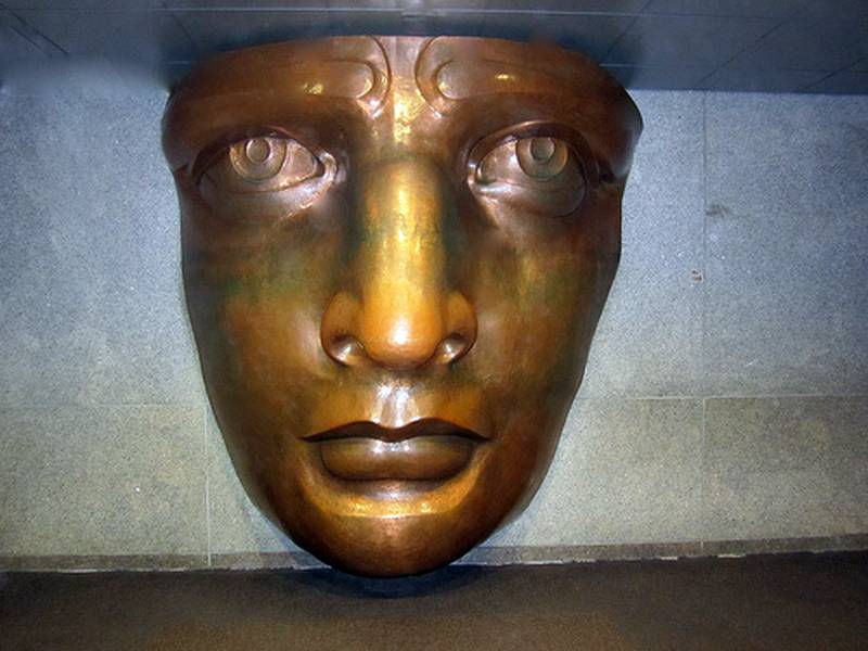 The face of the statue, in the museum