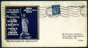 Postal envelope bearing the image of Miss Liberty