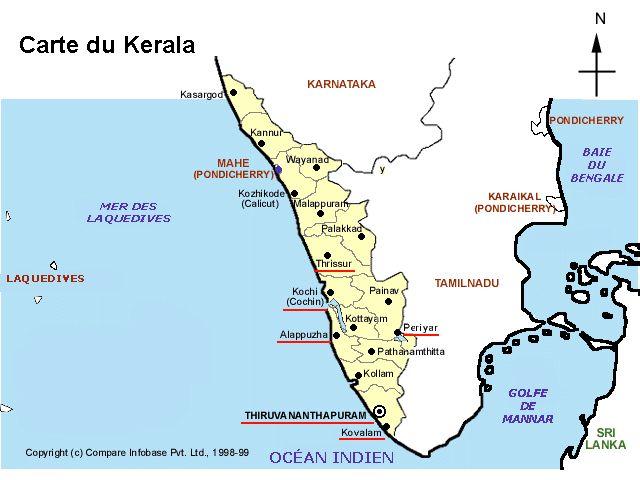 Carte Inde Kochi.The Indian Province Of Kerala