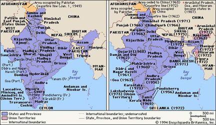 Carte de l'Inde juste après l'indépendance