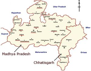 Map of Madhya Pradesh and Chhatisgarh