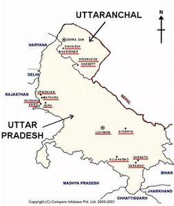 Map of Uttar Pradesh and Uttaranchal