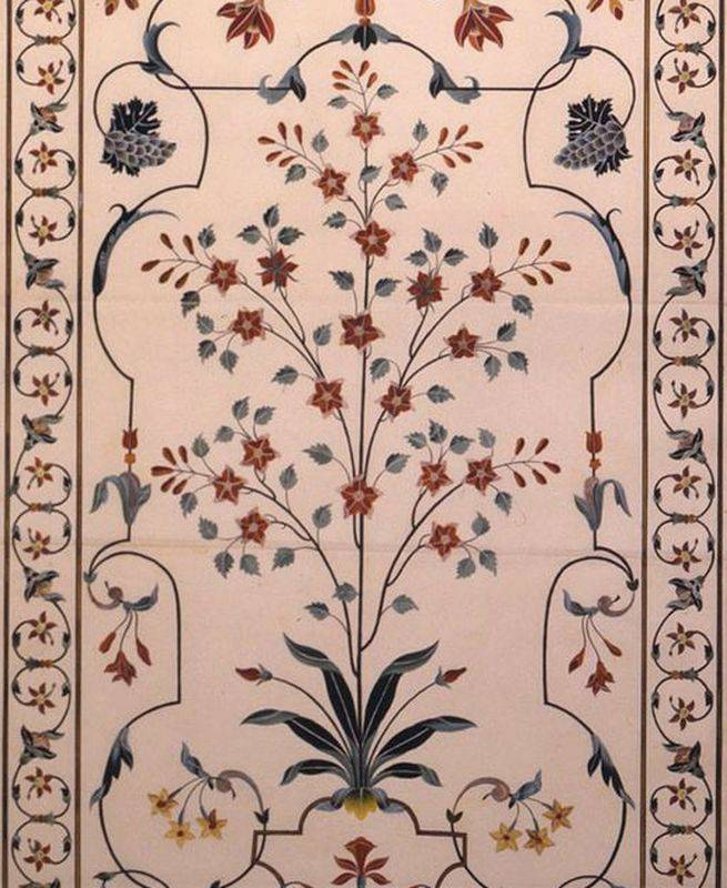 Floral decorations of the cenotaph of Mumtaz Mahal