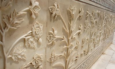 Flowers engraved in marble