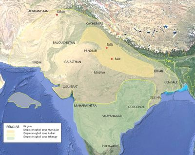 Map of the Mughals empire