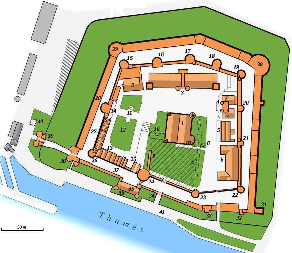 London Tour Map.Map Of The Tower Of London